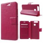HUAWEI P9 læder cover med kort lommer rosa