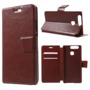 HUAWEI P9 læder cover med kort lommer brun