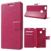 HUAWEI P9 LITE line læder cover med lommer rosa, Mobil tilbehør