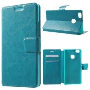 HUAWEI P9 LITE line læder cover med lommer blå, Mobiltelefon tilbehør