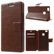 HUAWEI P9 LITE line læder cover med lommer brun, Mobiltelefon tilbehør
