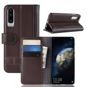 brun Flip cover ægte læder Huawei P30 Mobil tilbehør