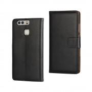 HUAWEI P9 split læder cover med lommer sort, Mobiltelefon tilbehør