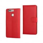 HUAWEI P9 split læder cover med lommer rød, Mobiltelefon tilbehør