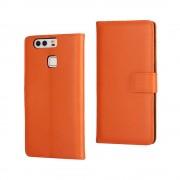 HUAWEI P9 split læder cover med lommer orange, Mobiltelefon tilbehør