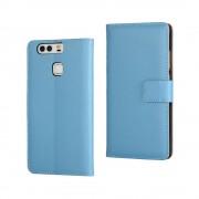 HUAWEI P9 split læder cover med lommer blå, Mobiltelefon tilbehør