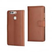 HUAWEI P9 split læder cover med lommer brun, Mobiltelefon tilbehør