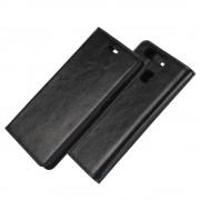 HUAWEI P9 ægte læder cover med lommer sort, Mobiltelefon tilbehør