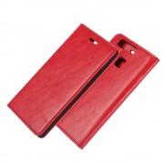 HUAWEI P9 ægte læder cover med lommer rød, Mobiltelefon tilbehør