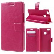 HUAWEI P9 LITE læder cover med kort lommer rosa, Mobiltelefon tilbehør