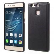 HUAWEI P9 tpu cover med læder sort, Mobiltelefon tilbehør