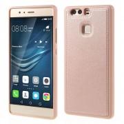 HUAWEI P9 tpu cover med læder rosa guld, Mobiltelefon tilbehør
