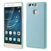 HUAWEI P9 tpu cover med læder blå, Mobiltelefon tilbehør