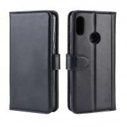 sort Flip cover ægte læder Huawei Y6 (2019) Mobil tilbehør
