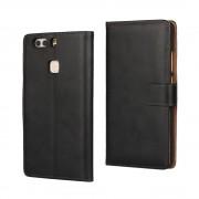 HUAWEI P9 PLUS cover - etui i split læder med lommer sort, Mobiltelefon tilbehør mobilcover