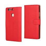 HUAWEI P9 PLUS cover - etui i split læder med lommer rød, Mobiltelefon tilbehør mobilcover