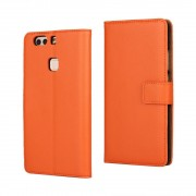 HUAWEI P9 PLUS cover - etui i split læder med lommer orange, Mobiltelefon tilbehør mobilcover