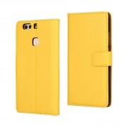 HUAWEI P9 PLUS cover - etui i split læder med lommer gul, Mobiltelefon tilbehør mobilcover