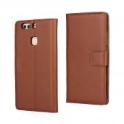 HUAWEI P9 PLUS cover - etui i split læder med lommer brun, Mobiltelefon tilbehør mobilcover