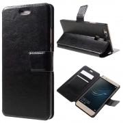 HUAWEI P9 PLUS line læder cover etui med lommer sort, Mobiltelefon tilbehør