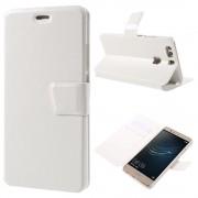 HUAWEI P9 PLUS line læder cover etui med lommer hvid, Mobiltelefon tilbehør
