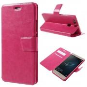 HUAWEI P9 PLUS line læder cover etui med lommer rosa, Mobiltelefon tilbehør