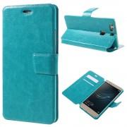 HUAWEI P9 PLUS line læder cover etui med lommer turkis , Mobiltelefon tilbehør