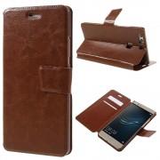 HUAWEI P9 PLUS line læder cover etui med lommer brun, Mobiltelefon tilbehør