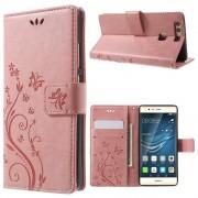 Etui til HUAWEI P9 butterfly pink Mobiltelefon tilbehør