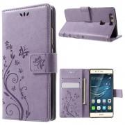 til HUAWEI P9 cover butterfly lilla Mobiltelefon tilbehør