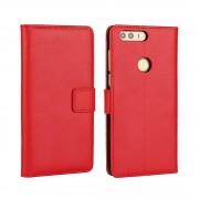 Huawei Honor 8 cover i split læder rød Mobiltelefon tilbehør