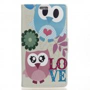 Huawei Y6 2 Compact cover med mønster Cute Owl and LOVE Pattern Mobiltelefon tilbehør