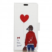 Huawei Y6 2 Compact cover med mønster Adorable Girl & Heart Shaped Balloon Mobiltelefon tilbehør