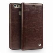 Til Huawei P9 premium læder etui brun med kort lomme Mobiltelefon tilbehør