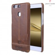 Til Huawei P9 Plus brun cover Pierre Cardin design læder Mobil tilbehør