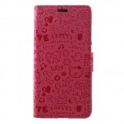 Huawei Honor 8 Lite cover med lommer rosa cartoon, Huawei Honor 8 lite Mobil tilbehør leveso.dk