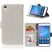 Huawei Y6 flip cover retro stil beige Mobilcovers