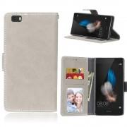 Huawei P8 lite flip cover i retro stil beige Mobilcovers