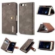 2 i 1 cover ægte læder mørkebrun Huawei P10 Mobilcovers