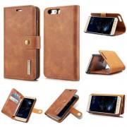 2 i 1 cover ægte læder brun Huawei P10 Mobilcovers