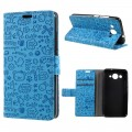 Huawei Y3 2017 cover med lommer cartoon blå