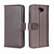 Huawei Y5 2 læder flip cover med lommer brun Mobil tilbehør
