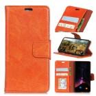 Motorola Moto X4 klassisk læder cover orange Mobilcovers