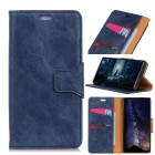 blå Elegant læder cover Motorola G7 Play Mobil tilbehør
