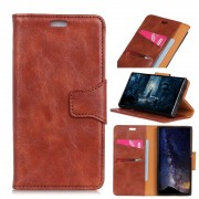brun Elegant læder cover Motorola One Vision Mobil tilbehør