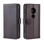 brun Flip cover ægte læder Motorola G7 Play Mobil tilbehør