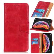 Elegant læder flip etui Motorola One Zoom rød Mobil tilbehør