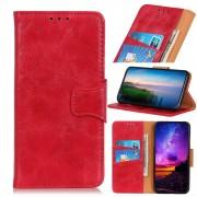 rød Elegant læder flip etui Motorola E6 Plus Mobil tilbehør