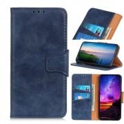 blå Elegant læder flip etui Motorola E6 Plus Mobil tilbehør