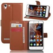 LENOVO K5 cover etui med lommer brun Leveso Mobil tilbehør